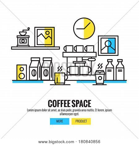 Coffee space. coffee shopcoffee barcounterbackgroundflat line design vector illustration