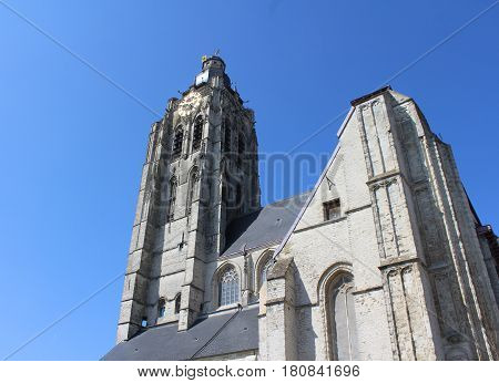 The exterior of Sint Walburgakerk (Saint Walbergs church) Oudenaarde, in East Flanders, Belgium.