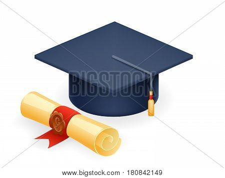 University Graduation Cap with Scroll Icon Student Education Symbol Isolated Realistic Design Vector Illustration