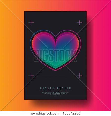Abstract Colorful Gradient Heart Cover Design - Vector illustration template
