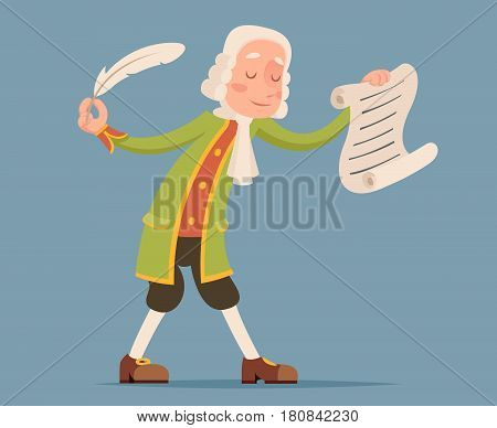 Writer scribe playwright chronicler noble medieval aristocrat mascot icon design cartoon vector illustration