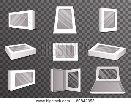 Paper Package Boxes Front Top Isometric Open Closed Mock Up Set Realistic Icon Template Vector Design Illustration