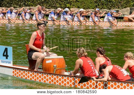 Rome Italy - July 30 2016: Dragon boat crews compete at the european championships held in Italy in 2016 summer Swisse crew