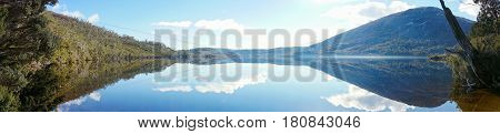 Panorama Of Mountain Landscape And Lake On Clear Day