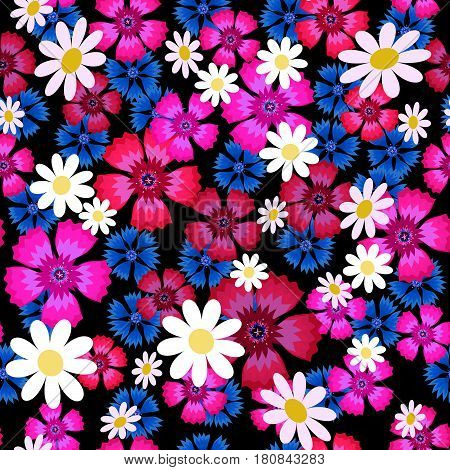 Seamless pattern with small and big white daisies, pink carnation and blue cornflowers on a black background. Wild, flowers. Summer vector illustration.Print for fabric, textile, wrapping paper.