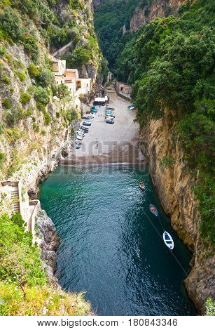 Italy Amalfitana Coast, view of the Furore fjord