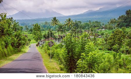 Rural road on sunny day in Sediment District, Bali Island, Indonesia.
