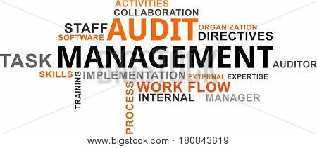 A word cloud of audit management related items