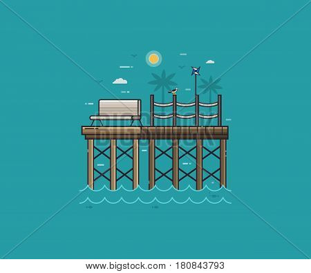 Sea pier, seagull and pinwheel on tropical landscape. Wooden jetty and bench on seaside background in flat design. Summer sea vacation concept vector illustration for travel agency.