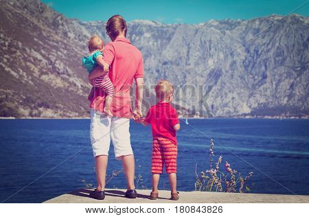 father with two little kids travel in Montenegro