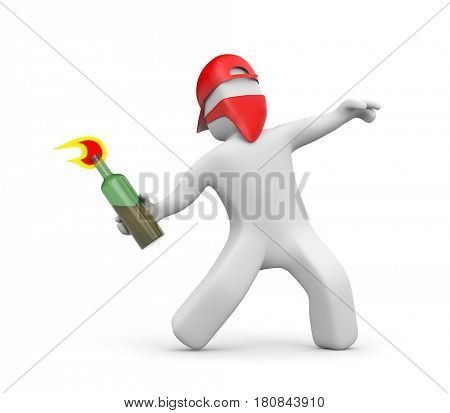 3D man with Molotov cocktail in the mask and cap - riots, street protest. 3d illustration