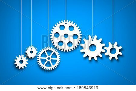 White Gears on blue background. 3d illustration