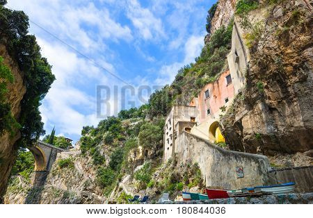 Italy Amalfitana Coast, the houses in the Furore fjord