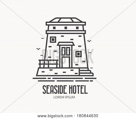 Seaside hotel logo or label template in linear style. Sea observation tower logotype in thin line design. Old stone lighthouse outline icon.