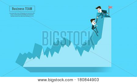 Financial adviser or business mentor help team partner up to profit growth. Concept of teamwork friendship success and goal . flat character design and elements. vector illustration