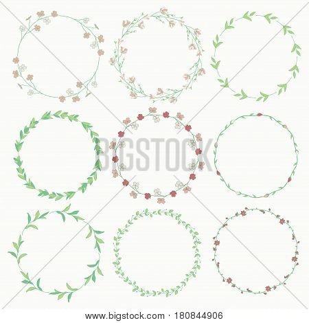 Set of 9 Colorful Hand Drawn Decorative Wreaths, Branches, Laurels with Herbs, Plants and Flowers, Florals. Vector Illustration