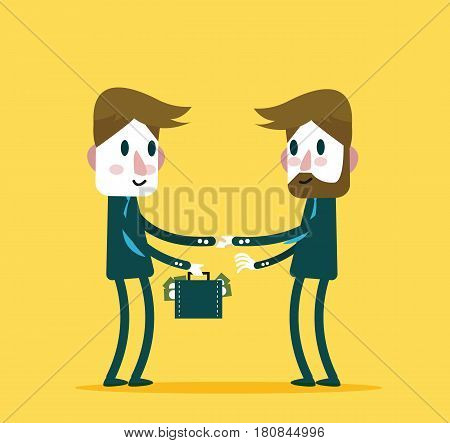 Business people check hand with a lot of money. Concept of big deal success partnership growth business and corruption. flat character design and elements. vector illustration