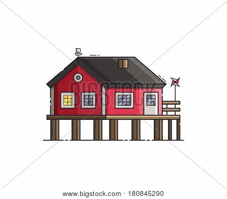 Red stilt house with jetty and pinwheel. Beach pier home building at seaside. Wooden fisherman house vector illustration.