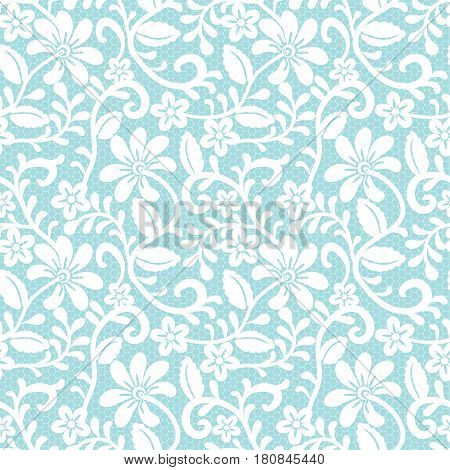 Seamless white and blue lace background with floral pattern