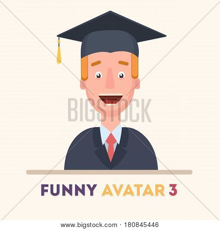 Attractive student in prom dress, smiling friendly. Vector icons of a flat style. Vector illustration in a flat style. Vector illustration in a flat style.