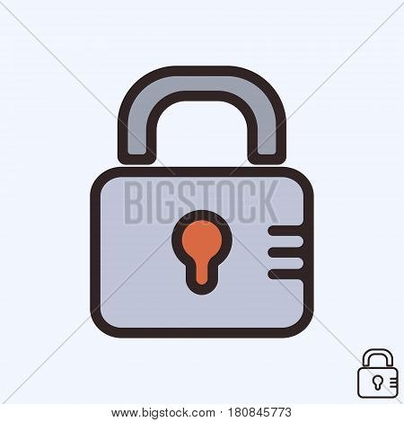 Lock icon isolated. Closed padlock line design. Vector illustration.