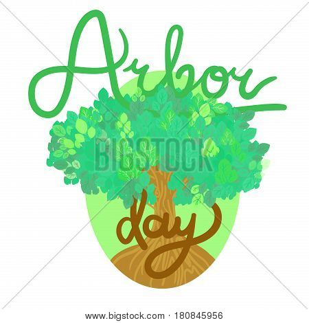 Save Our Planet Concept With Tree. Arbor Day Greeting for sticker banner and flyer. Vector