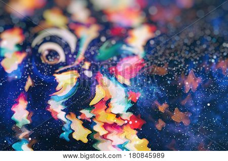 sparkle background De-focused bokeh abstract Christmas copy space Shimmering blue spotlights defocused golden lights New Years disco party