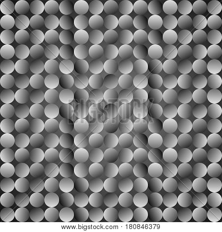 Polka dot pattern. Vector seamless grey background. Geometric texture with mosaic gradient dots.