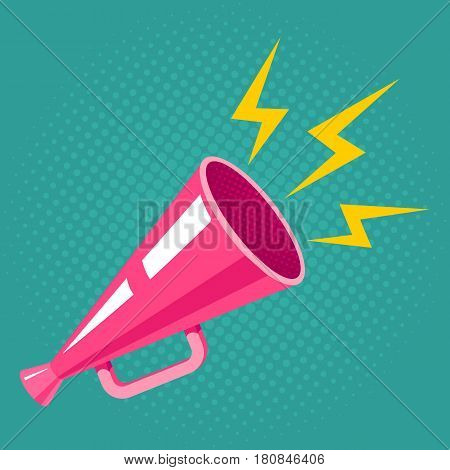 Vector vintage poster with pink megaphone on halftone background. Pink megaphone.