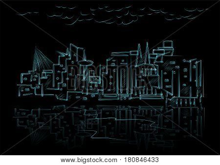 abstract city vector illustration of town on black background