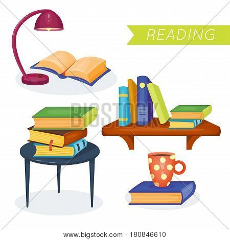 Set of different books. Reading time. Vector illustration. Cartoon style