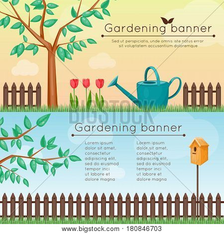 Summer gardening banners with fence and tree. Vector illustration. Cartoon style