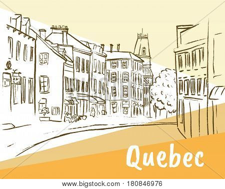 Sketch of St Jean Street in Quebec, Canada