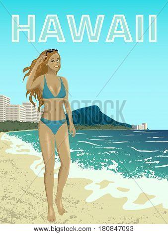 Poster with woman at Waikiki beach of Oahu island, Hawaii, USA