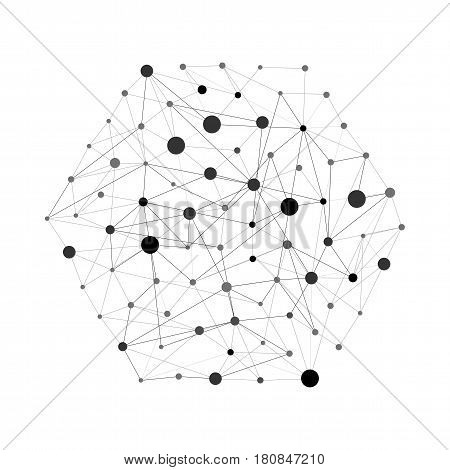 Geometric lines and dots. Line pattern. Modern hexagon background. Cell abstraction. Connection vector illustration for print and web design. Network black pattern. Organic concept.