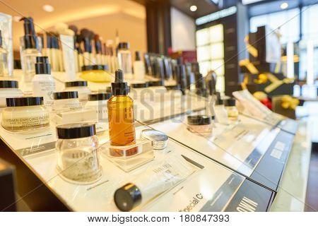 HONG KONG - CIRCA NOVEMBER, 2016: goods on display in Bobbi Brown store.
