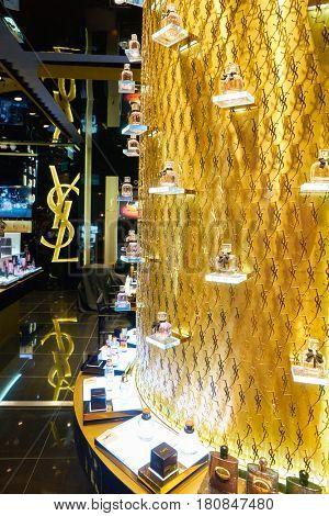 HONG KONG - CIRCA NOVEMBER, 2016: goods on display at Yves Saint Laurent store in Hong Kong.