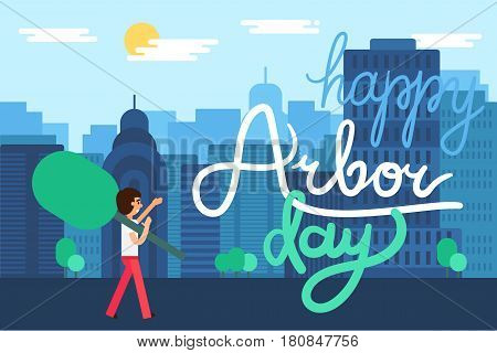 Save Our Planet Concept in city. Arbor Day Greeting for sticker banner and flyer. Vector