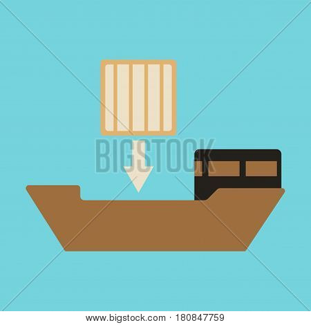 Icon in flat design Container loading transportation