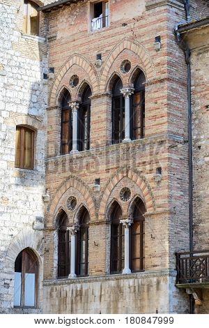 Buildings in the mediaval San Gimignano town in Tuscany Italy