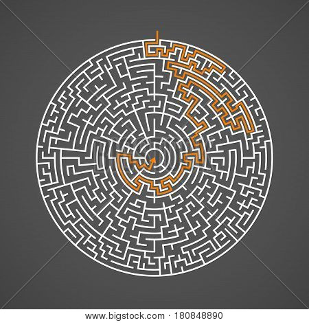 Illustration of Vector Maze Labyrinth. Antique Puzzle Game Pattern with Solution. Maze with Way In and Out