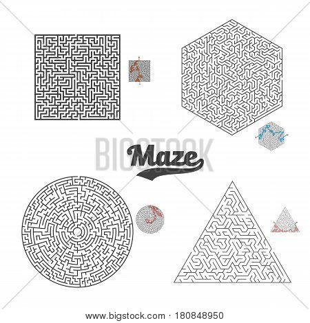 Illustration of Vector Maze Labyrinth Set. Greek Puzzle Challenge with Solution. Maze with Way In and Out