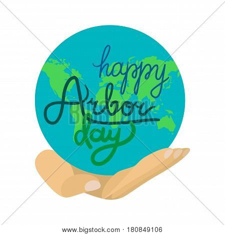 Save Our Planet Concept With Earth. Arbor Day Greeting for sticker banner and flyer. Vector