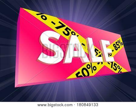 Advertising 3D banner sale. Vector illustration.  fashion, illustration,