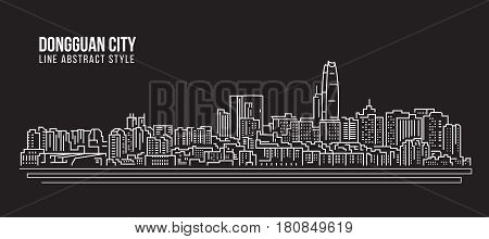 Cityscape Building Line art Vector Illustration design - Dongguan city