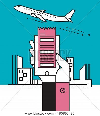 Airline tickets online. Buying or booking Airline tickets. Travel business flights worldwide. Online app for tickets order. Internation flights. Boarding pass. Flat line vector illustration.