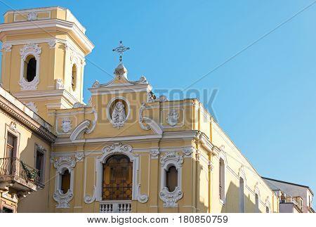 Italy Sorrento detail of the Parish church of Corso Italia