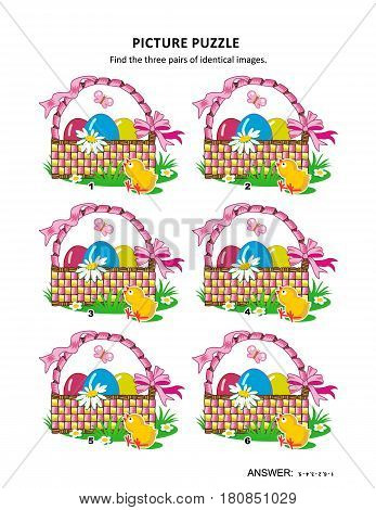 Easter themed visual puzzle with baskets, painted eggs, chicks, fresh geen grass, flowers and butterflies: Find the three pairs of identical images. Answer included.