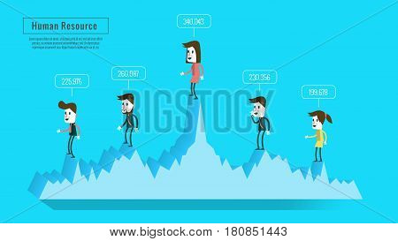 business people on graph with score. estimate human resources concept. flat banner book annual report magazine design. vector illustration
