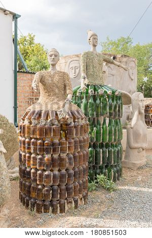 NIEU BETHESDA SOUTH AFRICA - MARCH 21 2017: Concrete and glass sculptures at the Owl House in Nieu-Bethesda an historic village in the Eastern Cape Province